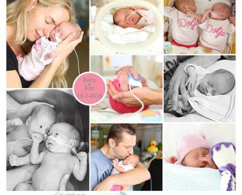 Betty en Kim, prematuur, geboren met 28 weken, vliezen gebroken, operatie, tweeling