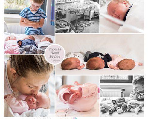 Thomas, Noud en Sophie, prematuur, geboren met 34 weken en 5 dagen, vliezen gebroken, , ambulance, navelstreng, spoedsectio, narcose, couveuse, CPAP