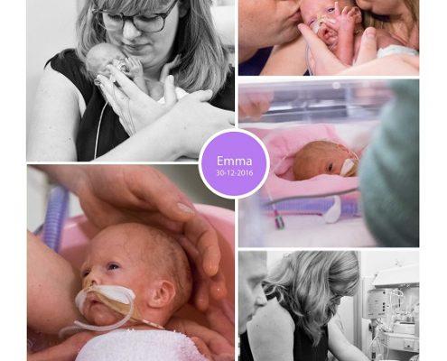 Emma prematuur geboren met 28 weken, UMCG, buidelen