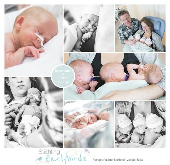 Rosie, Suze & Ferre prematuur geboren met 32 weken, WKZ, couvesue, drieling, NICU, buidelen