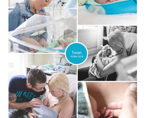 Twan prematuur geboren met 32 weken, spoedkeizersnede, UMCG, sondevoeding