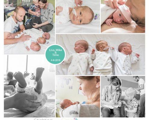 Liva, Mike & Timo prematuur geboren met 33 weken en 3 dagen, drieling, zwangerschapsvergiftiging, LUMC, JKZ, UMCG, Alrijne, buidelen, sonde