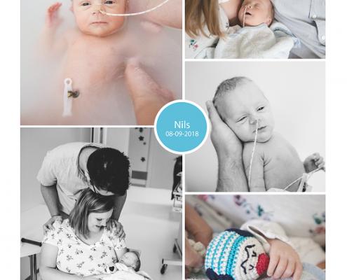 Nils prematuur geboren met 34 weken en 3 dagen, Martini ziekenhuis Groningen, couveuse, neonatologie, stuitbevalling, sonde