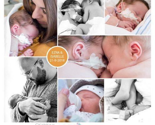 Isabelle & Ezra prematuur geboren met 36 weken en 6 dagen, LUMC, tweeling, spoedkeizersnede, zwangerschapsvergiftiging, neonatologie, sonde