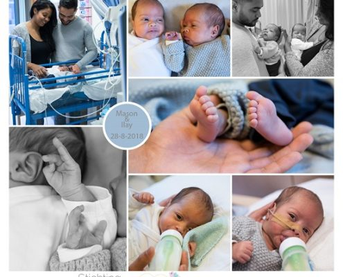 Mason & Ilay prematuur geboren met 33 weken, tweeling, Rienier de Graaf, weeenremmers, longrijping, open ductus