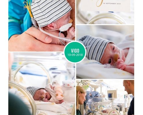 Vigo prematuur geboren met 30 weken, couveuse, CTG, groeiachterstand, longrijing, zwangerschapsvergiftiging, spoedkeizersnede, NICU, sonde, CPAP