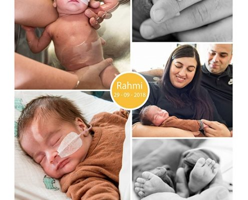 Rahmi prematuur geboren met 29 weken en 5 dagen, tweelingzwangerschap, NICU, longrijping, stuitligging, keizersnede, buidelen