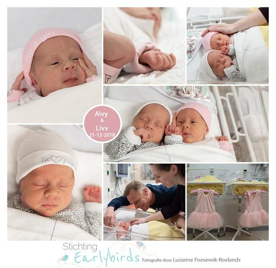 Aivy & Livv prematuur geboren met 36 weken, CWZ, tweeling, couveuse