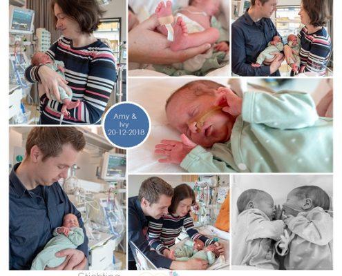 Ivy & Amy prematuur geboren met 34 weken en 1 dag, tweeling, stuitligging, longrijping, JKZ, gebroken vliezen, keizersnede, LUMC, CPAP, sonde