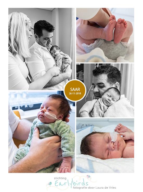 Saar prematuur geboren met 33 weken, sonde, badderen, flesvoeding