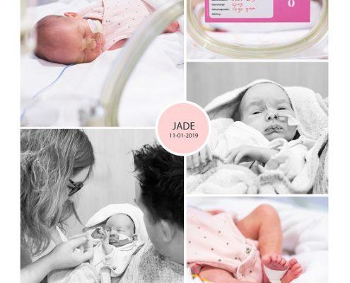 Jade prematuur geboren met 32 weken, Isala, keizersnede, gebroken vliezen, longrijping, weeenremmers, klaplong, NICU, sonde