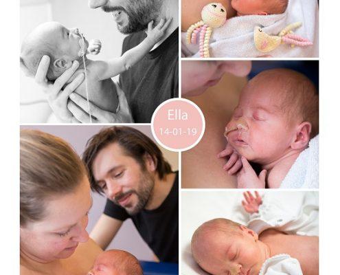Ella prematuur geboren met 34 weken, gebroken vliezen, weeenremmers, longrijping, couveuse, sonde, neonatologie, buidelen