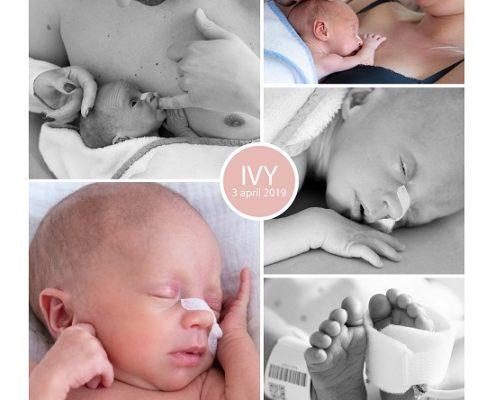Ivy prematuur geboren met 33 weken, Amphia Breda, zwangerschapsvergiftiging, keizersnede, couveuse, buidelen, sonde