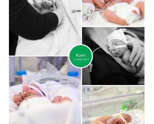 Koen prematuur geboren met 26 weken, buidelen, UMCG, CPAP, sonde, couveuse