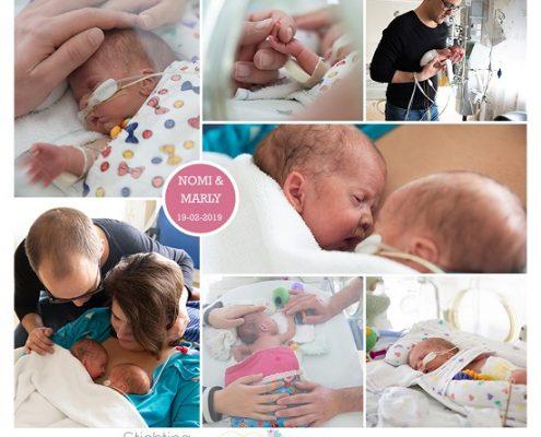 Nomi & Marly prematuur geboren met 30 weken en 1 dag, tweeling, MMC Veldhoven, CTG, keizersnede, buidelen, NICU, sonde, WKZ