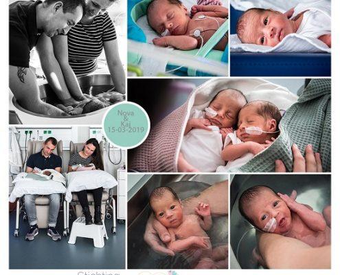 Nova & Kaj prematuur geboren met 32 weken en 5 dagen, tweeling, gebroken vliezen, couveuse,sonde