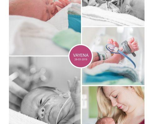 Vayèna prematuur geboren met 30 weken, Langeland Ziekenhuis, gebroken vliezen, weeenremmers, longrijping, LUMC, couveuse, sonde