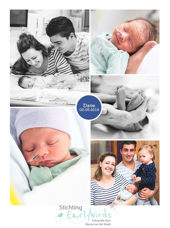 Dave prematuur geboren met 35 weken, sonde, flesvoeding, earlybird, bedrust