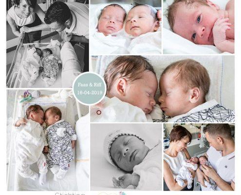Faas & Riff prematuur geboren met 34+ weken, Zuyderland ziekenhuis, tweeling, weeenremmers, longrijping, gebroken vliezen, spoedkeizersnede, neonatologie, buidelen