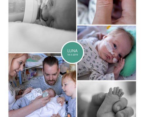Luna prematuur geboren met 33 weken, MST, sonde, vroeggeboorte