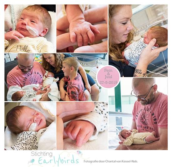 Juul & Fem prematuur geboren met 33 weken en 6 dagen, tweeling, diabetes, pre-eclampsie, longrijping, keizersnede, stuitligging, Rijnstate