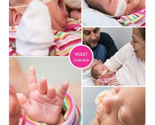 Violet prematuur geboren met 33 weken, gebroken vliezen, weeenremmers, keizersnede, Rijnstate Arnhem, sondevoeding