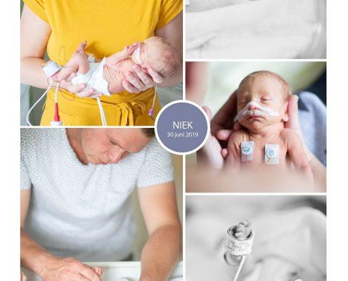 Niek prematuur geboren met 31 weken, Tjongerschans, spoedkeizersnede, couveuse, borstvoeding, sonde