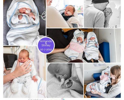 Armando & Shirley prematuur geboren met 35 weken, tweeling, spoedkeizersnede, zwangerschapsvergiftiging, sonde