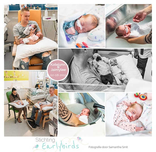 Katelynn & Jaimylee prematuur geboren met 32 weken, tweeling, LUMC, spoedkeizersnede, sonde