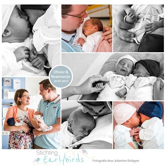 Olivier & Rozemarijn prematuur geboren met 33 weken en 5 dagen, tweeling, gebroken vliezen, longrijping, weeenremmers, couveuse, buidelen, sonde