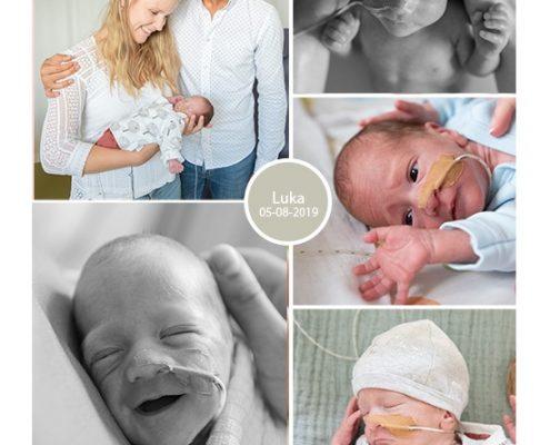 Luka prematuur geboren met 29 weken, couveuse, spoedkeizersnede, zwangerschapsvergiftiging, sonde