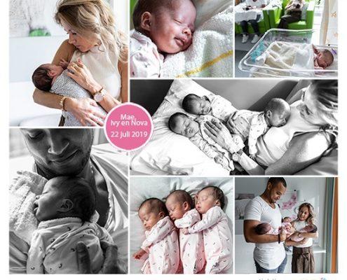 Mae, Nova & Ivy prematuur geboren met 32 weken, drieling, Spaarne Gasthuis