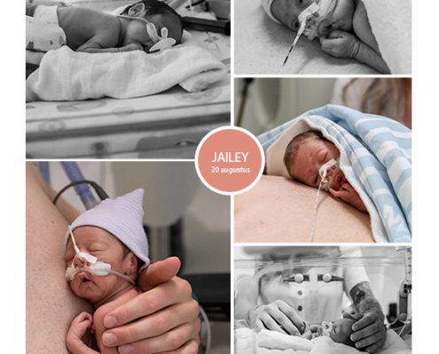 Jailey prematuur geboren bij 28 weken, WKZ, NICU, sonde, buidelen, couveuse