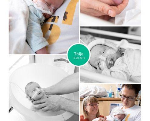 Thije prematuur geboren met 27 weken, weeenremmers, longrijping, keizersnede, UMCG, MCL, couveuse, knuffelen, sonde