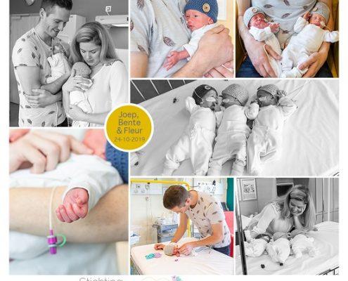Joep, Bente & Fleur prematuur geboren met 34 weken en 1 dag, drieling, Radboud Nijmegen