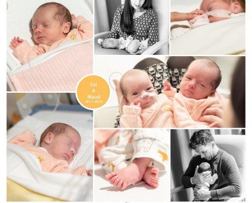 Evi & Maud prematuur geboren met 36 weken, tweeling, Amphia, Ronald McDonaldhuis, antibiotica, sonde
