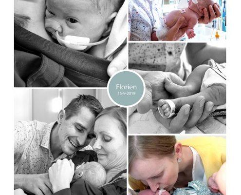 Florien prematuur geboren met 26 weken, Isala Klinieken, bloedingen, longrijping, NICU, couveuse, buidelen, sonde