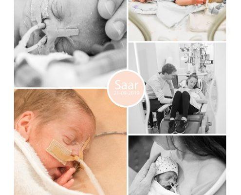 Saar prematuur geboren met 26 weken en 2 dagen, sonde, buidelen, Isala Zwolle, longrijping, couveuse, NICU