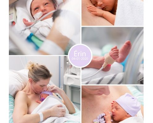 Érin prematuur geboren met 33 weken, Bethesda, gebroken vliezen, couveuse, sonde, buidelen, borstvoeding