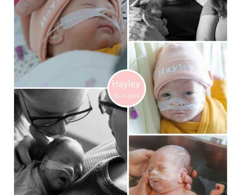Hayley prematuur geboren met 28 weken, Tjongerschans, sonde, badderen