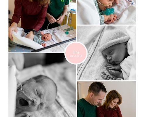 Jins prematuur geboren met 32 weken en 3 dagen, couveuse, sonde, MMC