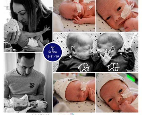 Senna & Finn prematuur geboren met 32+ weken, WPD, WZA, tweeling, gebroken vliezen, longrijping, weeenremmers, keizersnede