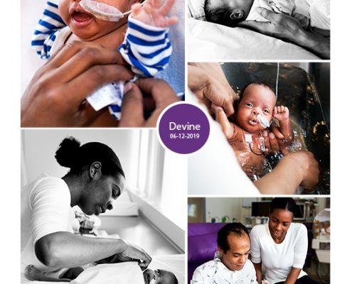 Devine prematuur geboren met 32 weken, MST, neonatologie, couveuse, badderen, sonde