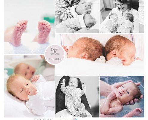 Jolijn & Milou prematuur geboren met 32+ weken, tweeling, Meander, gebroken vliezen, longrijping, weeenremmers, spoedkeizersnede, CPAP, couveuse