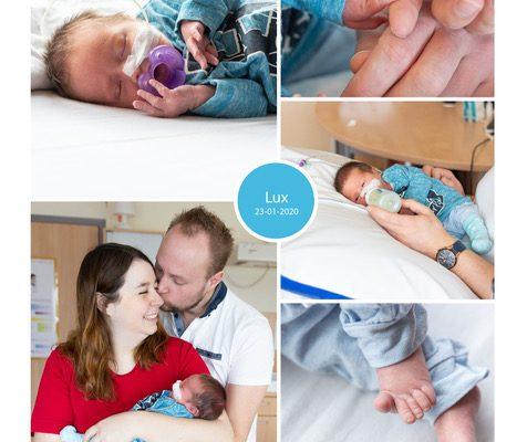 Lux prematuur geboren met 33 weken, HELLP, badderen, sonde