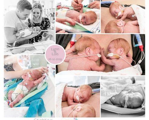Lynn & Lois prematuur geboren met 25 weken, LUMC, tweeling, spoedkeizersnede, buidelen, sonde