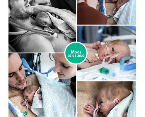 Moos prematuur geboren met 29 weken, buidelen, sonde, vroeggeboorte