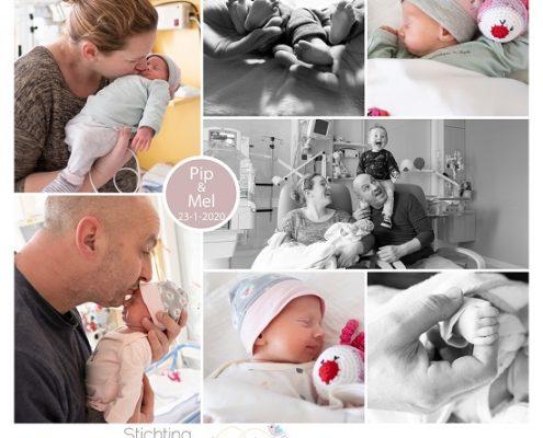 Pip & Mel prematuur geboren met 33 weken, tweeling, couveuse, sonde, Bernhoven