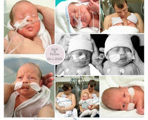 Jack & Feline premauur geboren met 31 weken, Nij Smellinghe, tweeling, couveuse, buidelen, badderen, sonde
