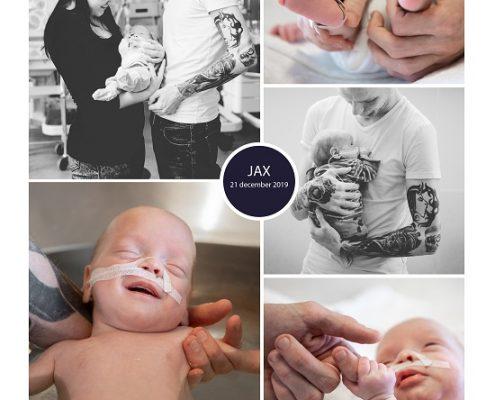 Jax prematuur geboren met 28 weken, Tjongerschans, sonde, badderen